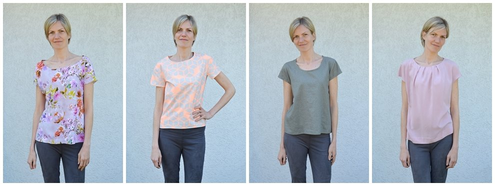 4 Blusenshirt Schnittmuster im Vergleich: Belcarra Blouse, Onyx Shirt, Scout Tee, burdastyle Fältchenshirt