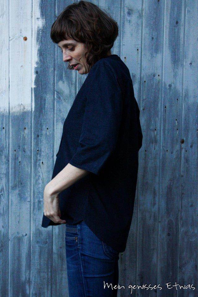 Cheyenne Bluse mit Dreiviertelärmeln, dunkelblau