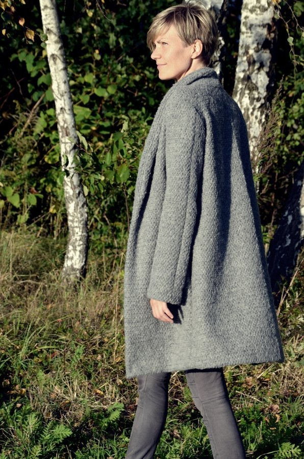 Coatigan nähen aus dickem grauem Wollstrick