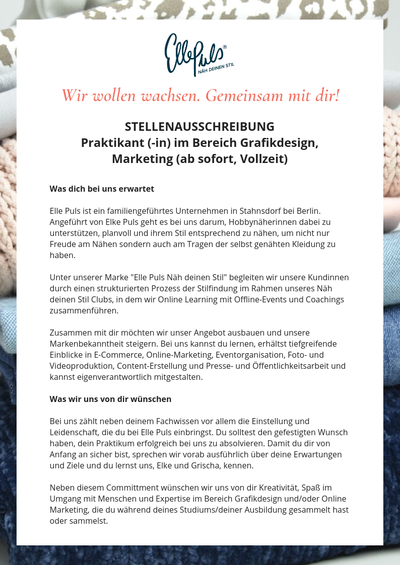 Praktikant (m_w) Grafikdesign, Marketing